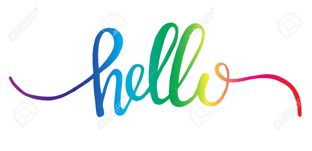 Hello Hand Drawn Letters Colorful Elegant Hand Written Word Vector ...