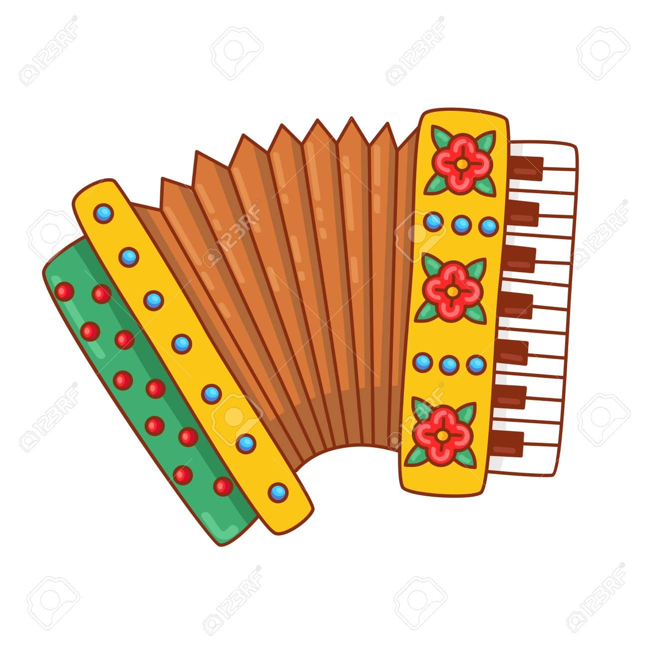 Accordéon Instrument Doodle Russe Instrument De Musique Dessin Animé Coloré Illustration Vectorielle