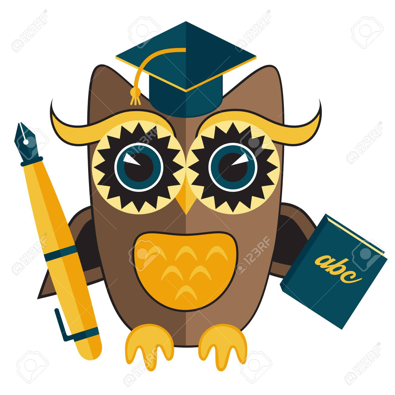 Owl Teacher Character With Pen And Book Design Royalty Free Cliparts