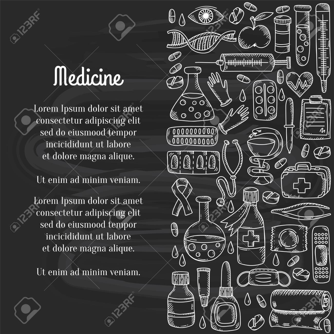 Medcine doodle icons decorative row border vector illustration - 149063847