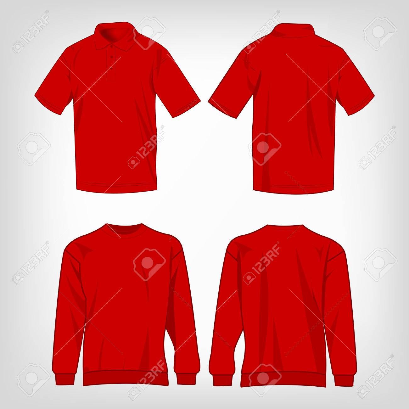 Rode Trui.Sport Rode Trui En Polo Shirt Geisoleerde Set Vector Royalty Vrije