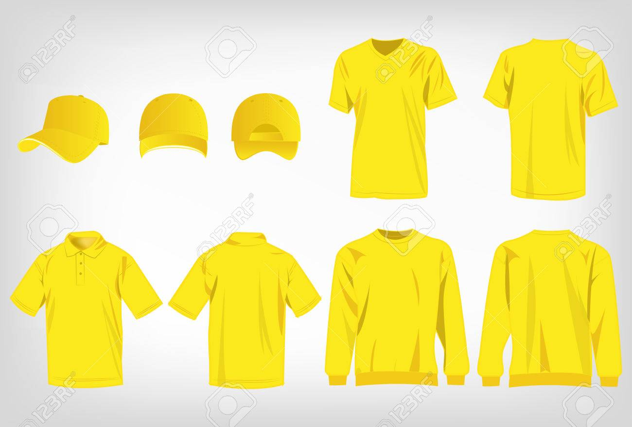 2122ead43 Sport yellow t-shirt, sweater, polo shirt and baseball cap isolated set  vector