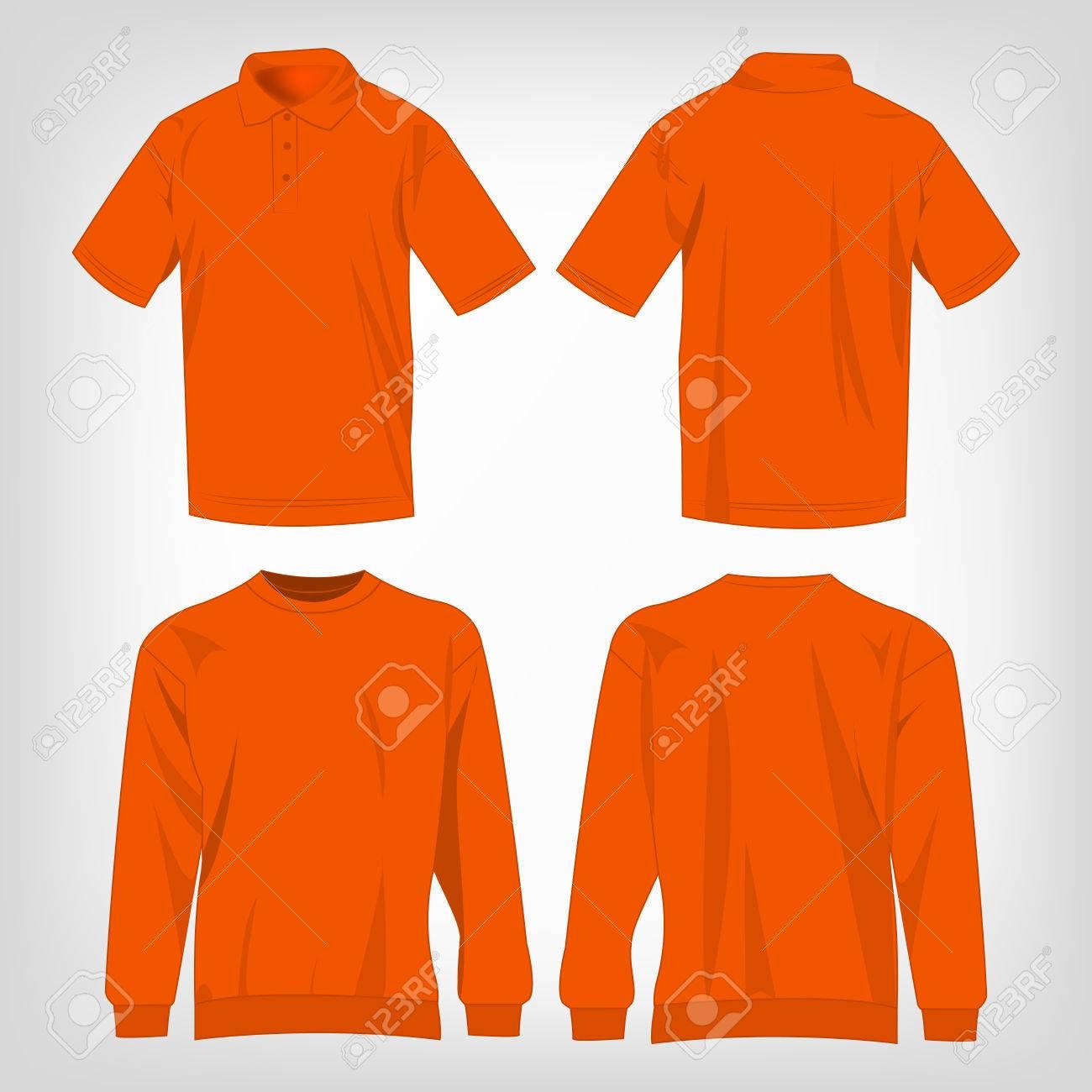 Oranje Trui.Sport Oranje Trui En Polo Shirt Geisoleerde Set Vector Royalty Vrije