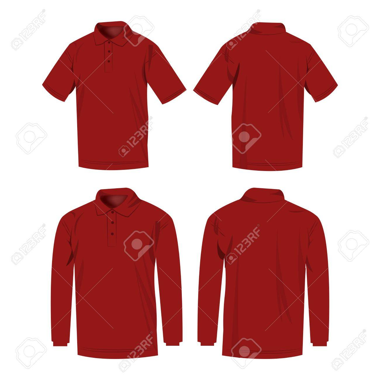 Dark Red Polo Shirt And Polo With Long Sleeve Isolated Vector