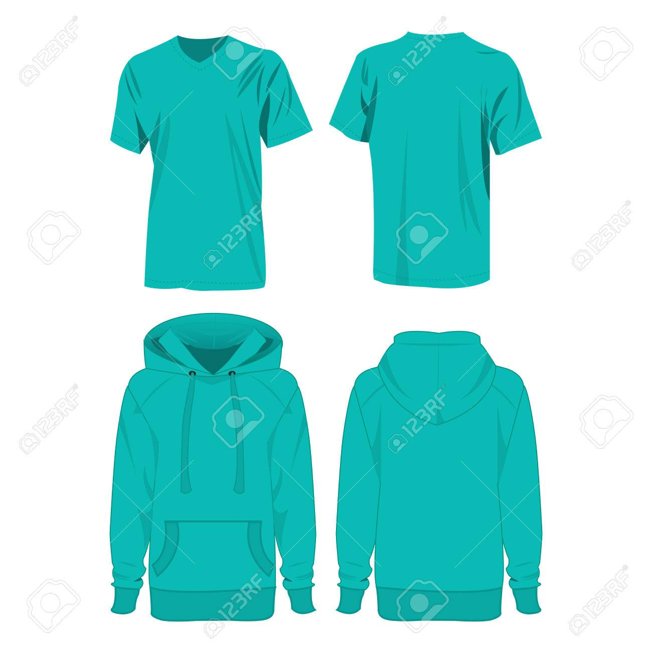 Turquoise Color Hoodie And T Shirt Isolated Vector Set On The