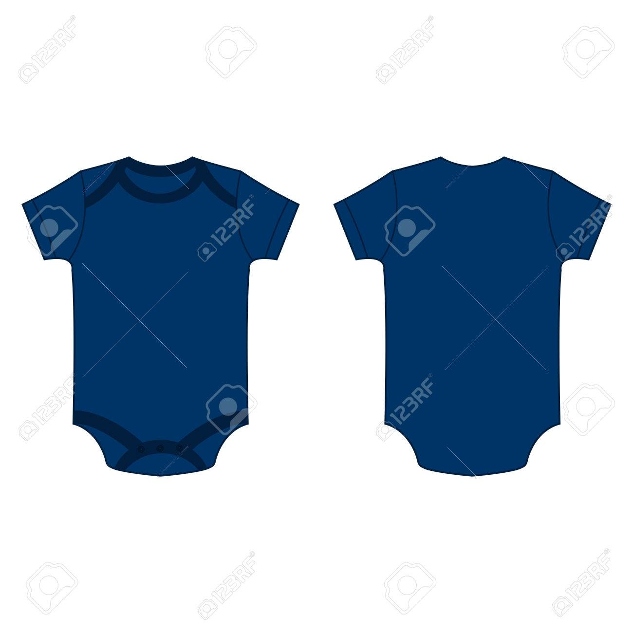 30107bbdd070 Navy Blue Baby Bodysuit Romper Vector Isolated Front And Back ...