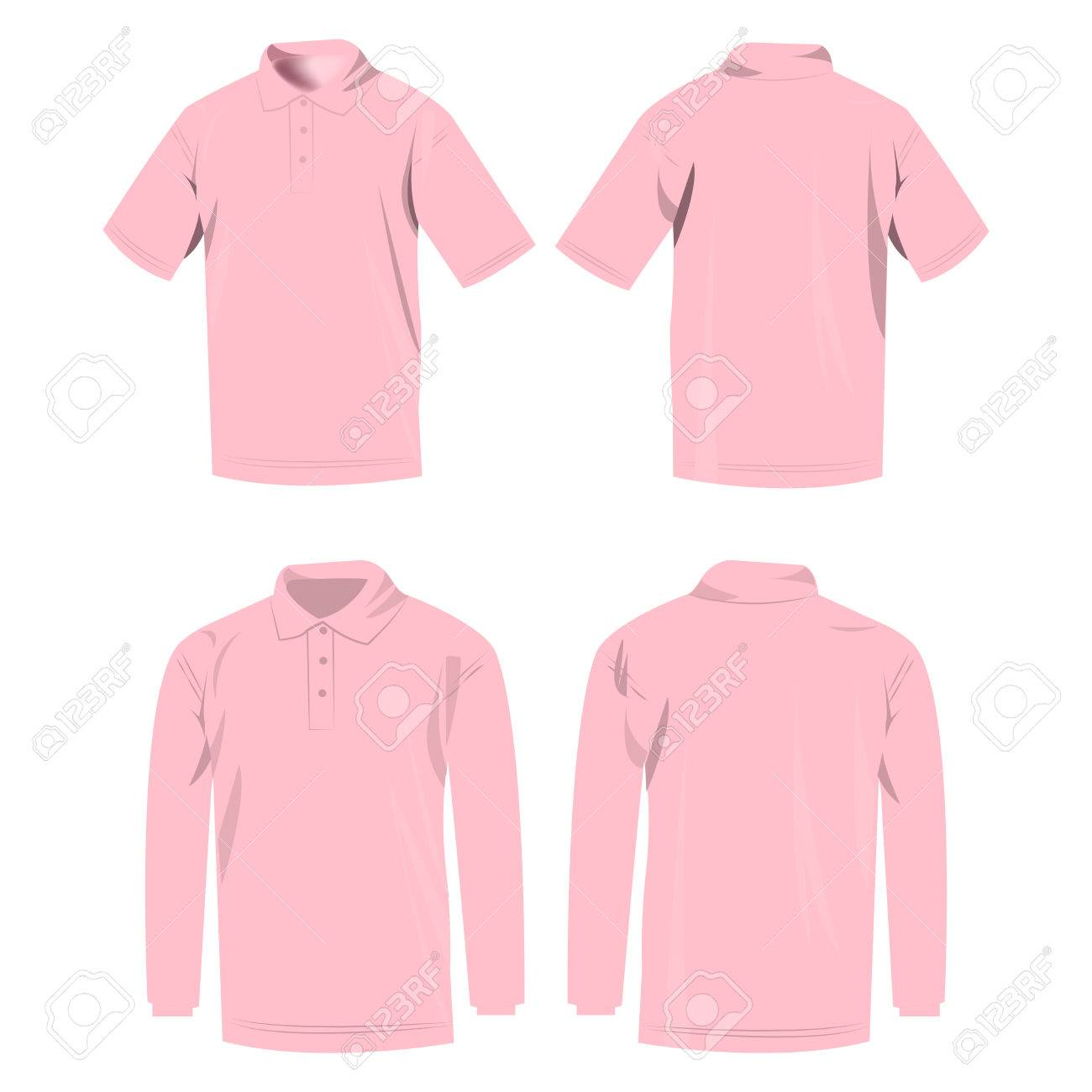 1c4a15df8c93b9 Baby pink polo shirt and polo with long sleeve isolated vector set Stock  Vector - 65457010