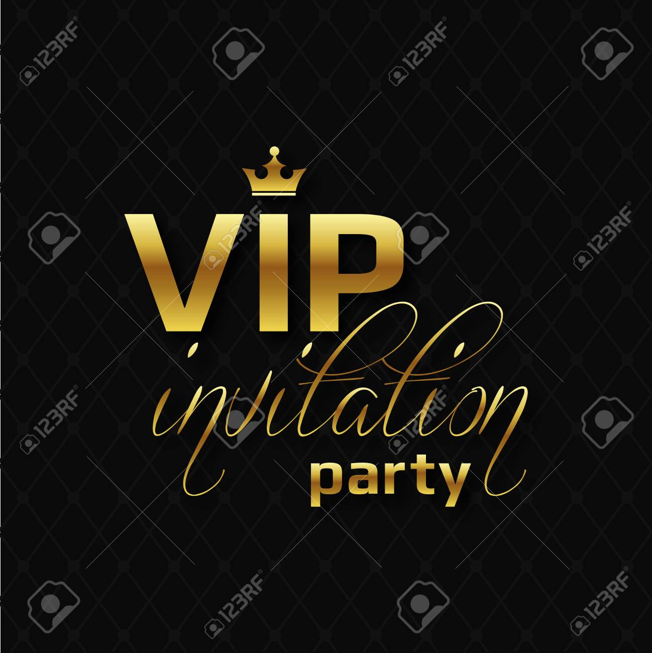 VIP Party Invitation On Golden Letters With Crown. Royalty Free ...
