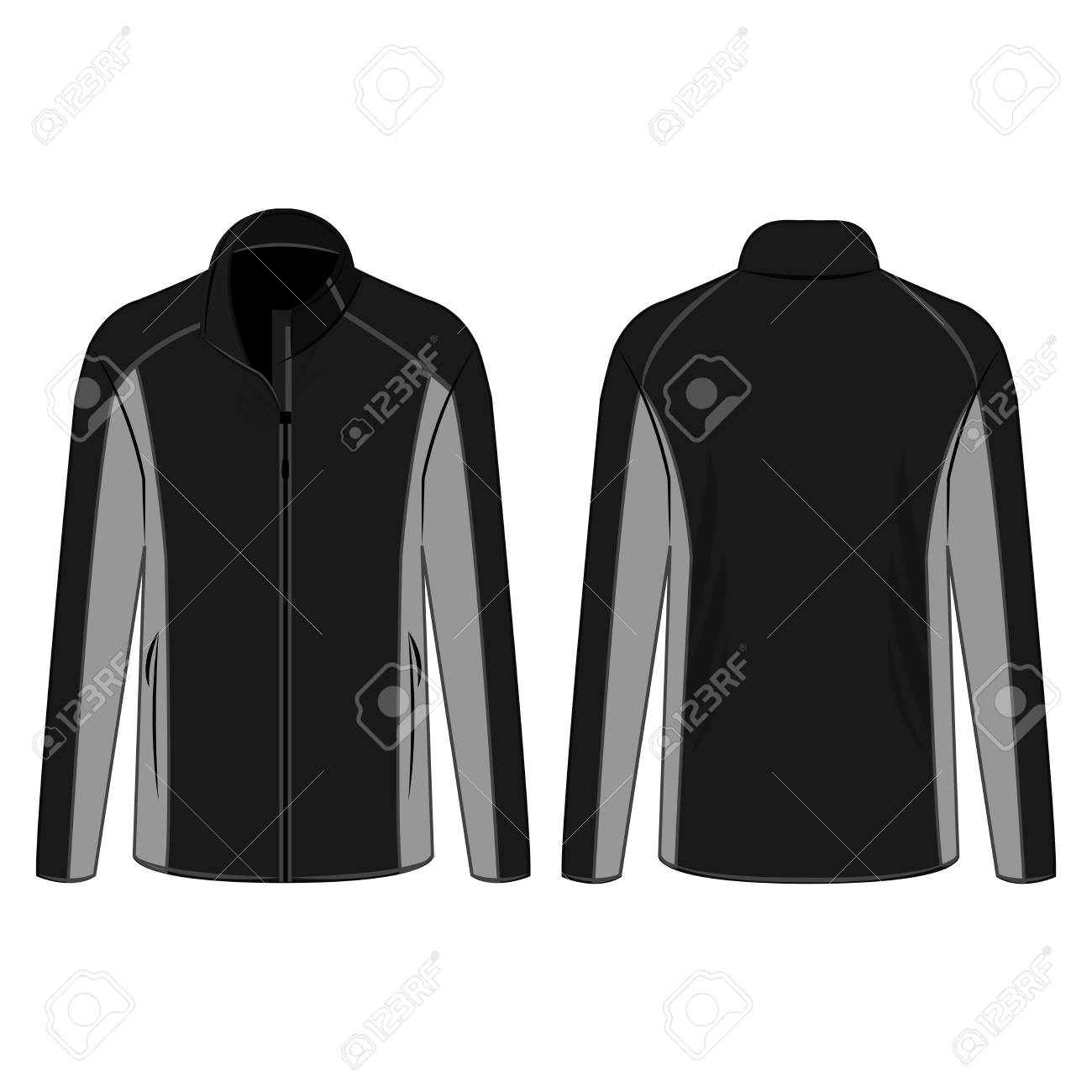 Black and grey sport winter zipped fleece jacket isolated vector on the white background - 122591892