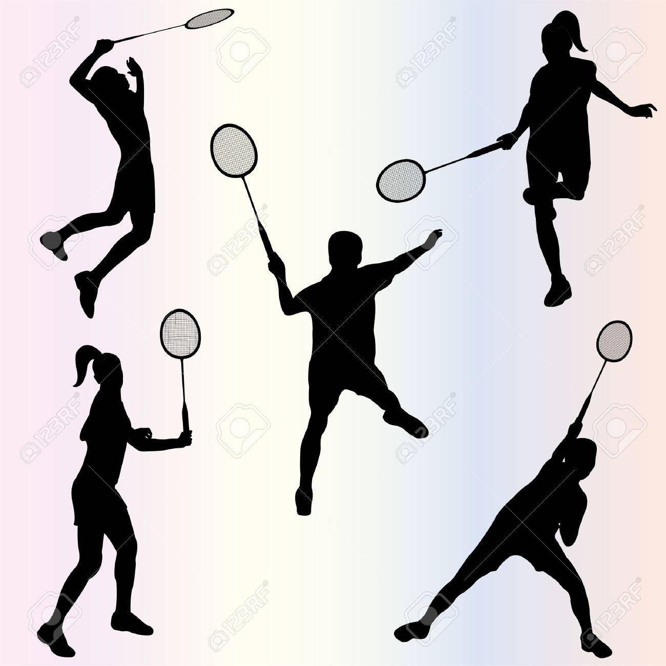 バドミントン選手のシルエットのイラスト素材 ベクタ Image