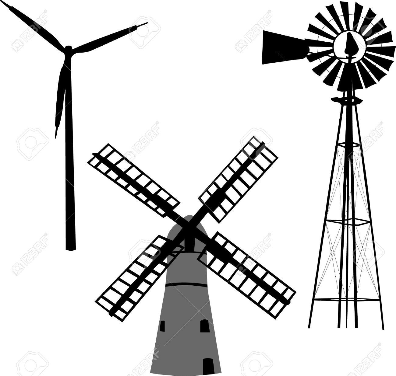 silhouette of windmill royalty free cliparts vectors and stock rh 123rf com windmill vector download windmill vector png