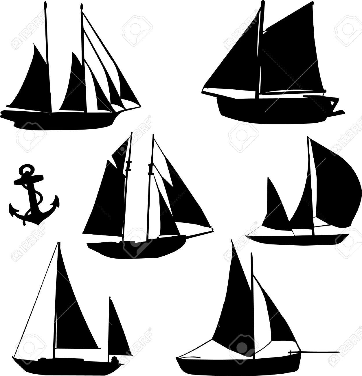 silhouette of sailboats royalty free cliparts, vectors, and stock