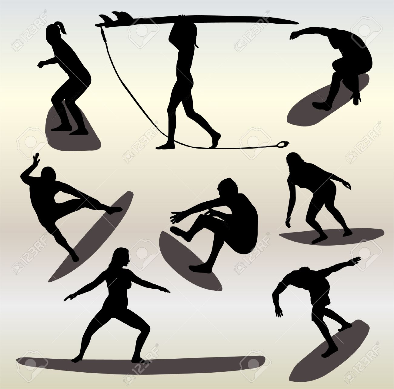 silhouettes of surfers Stock Vector - 9559788