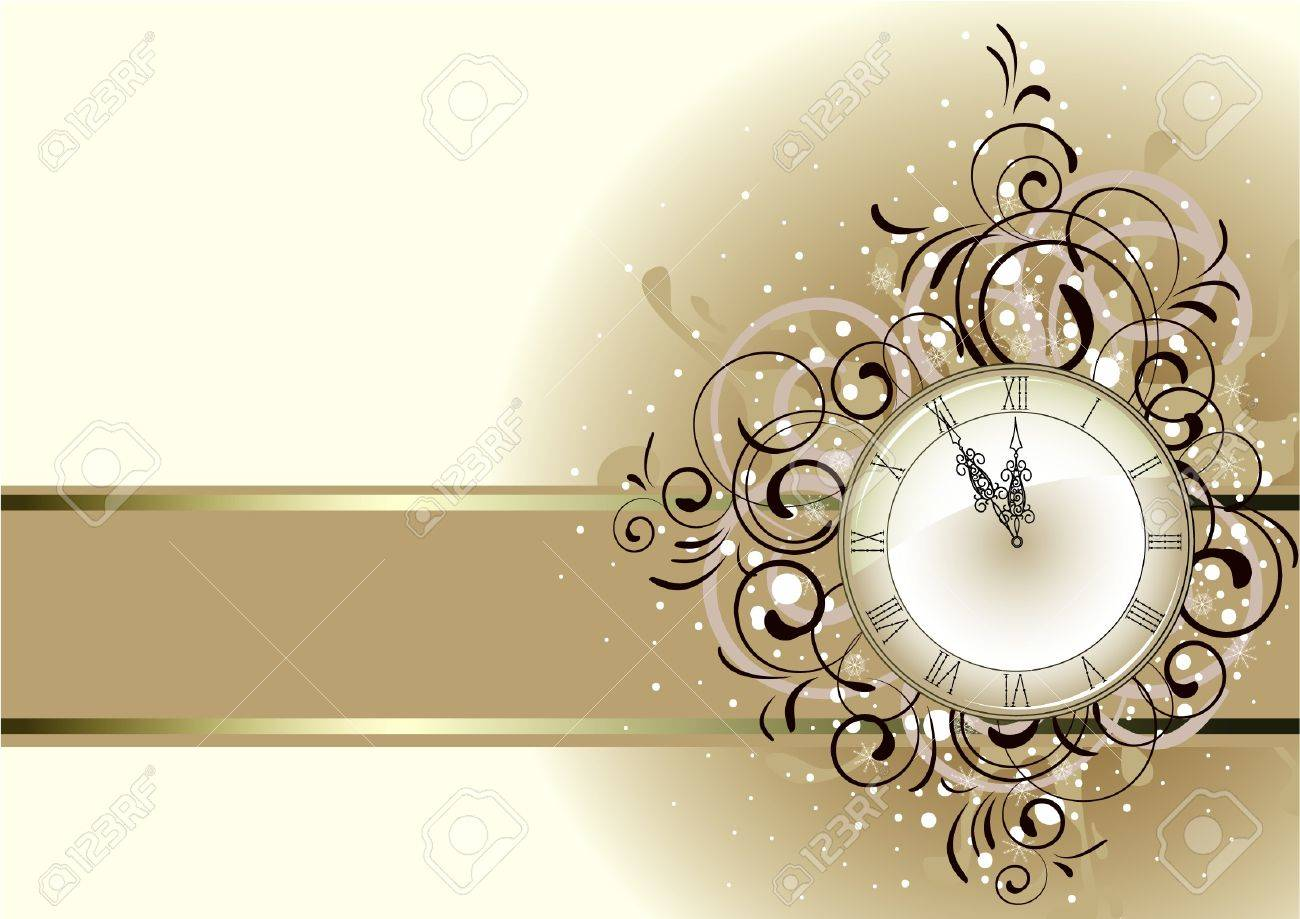 Christmas romantic design with antique clock Stock Vector - 11674513