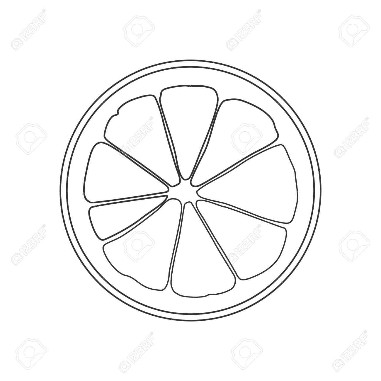 Isolated Black Outline Round Slice Of Citrus Lemon Orange Or Grapefruit On White Background