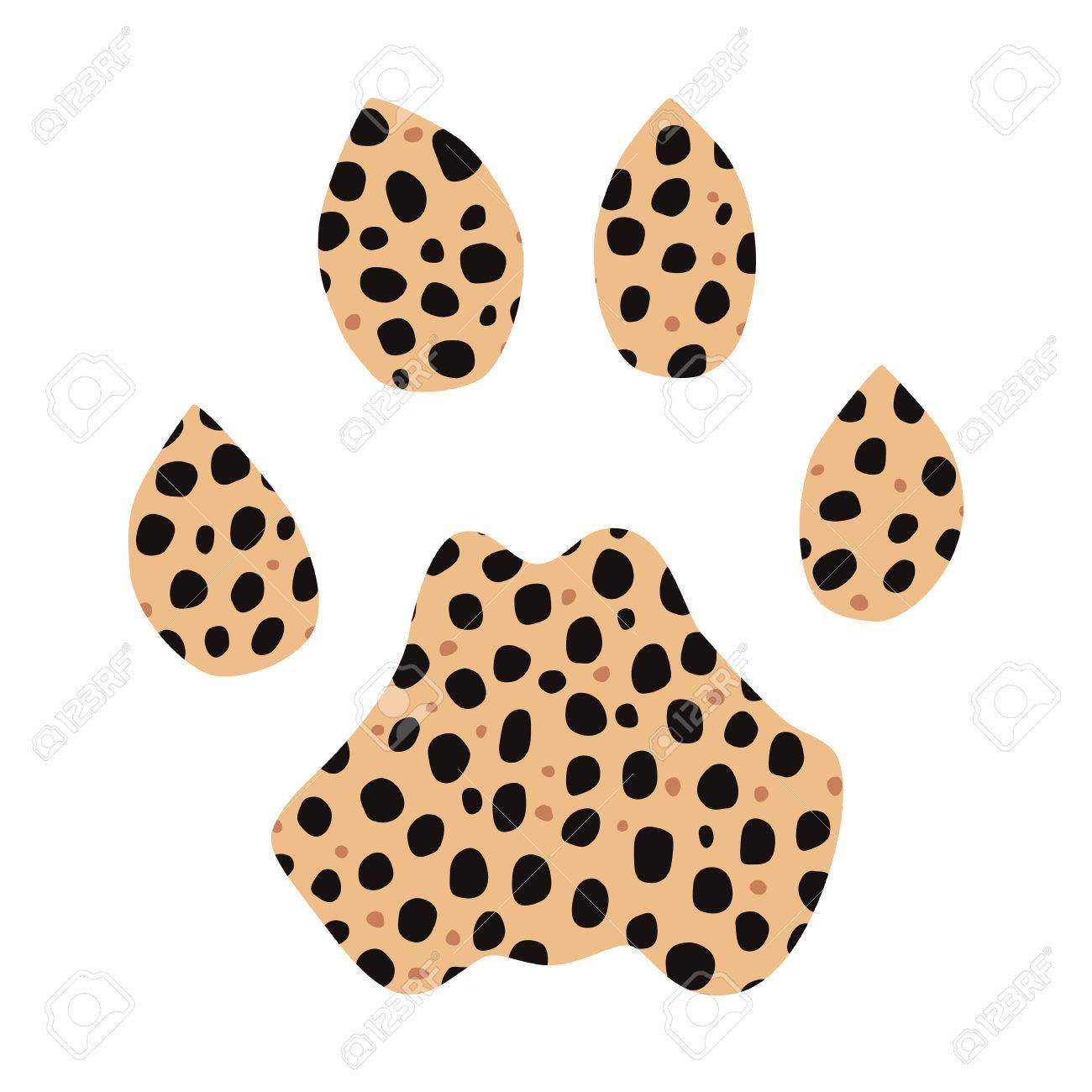 isolated footprint of cheetah with skin print on white background rh 123rf com