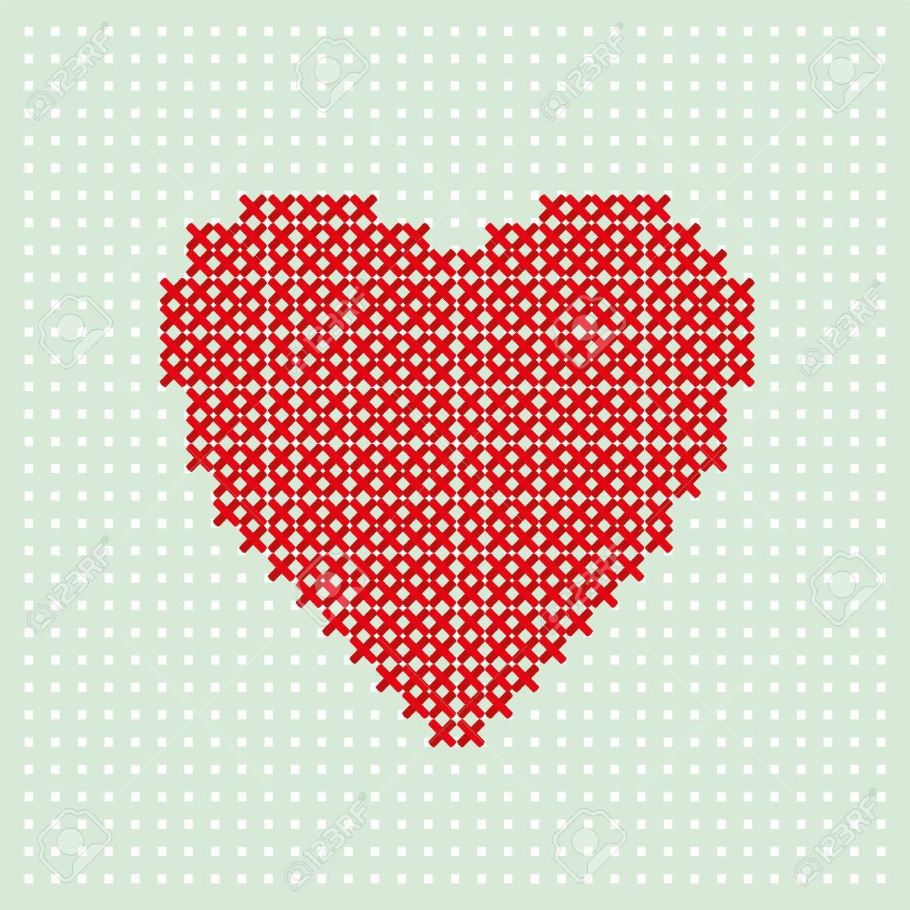 Rotes Herz Sticken Durch Thread Auf Türkishintergrund. Kreuzstich ...
