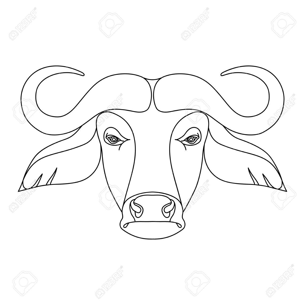 Isolated Black Outline Head Of Buffalo On White Background Line