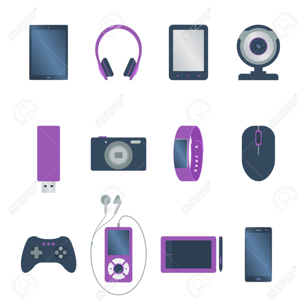 Sistema De Artilugio Electrónico Coloreado Aislado Lector De Libro Tableta Cámara Web Teléfono Inteligente Auricular Ratón De La Computadora