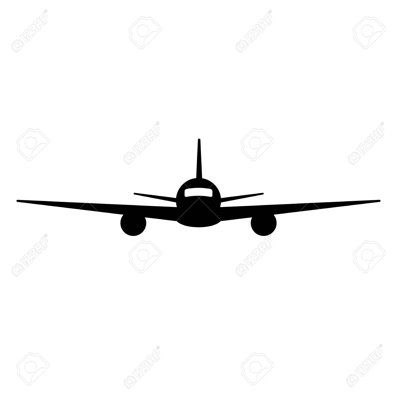 Black Isolated Silhouette Of Airplane On White Background Front