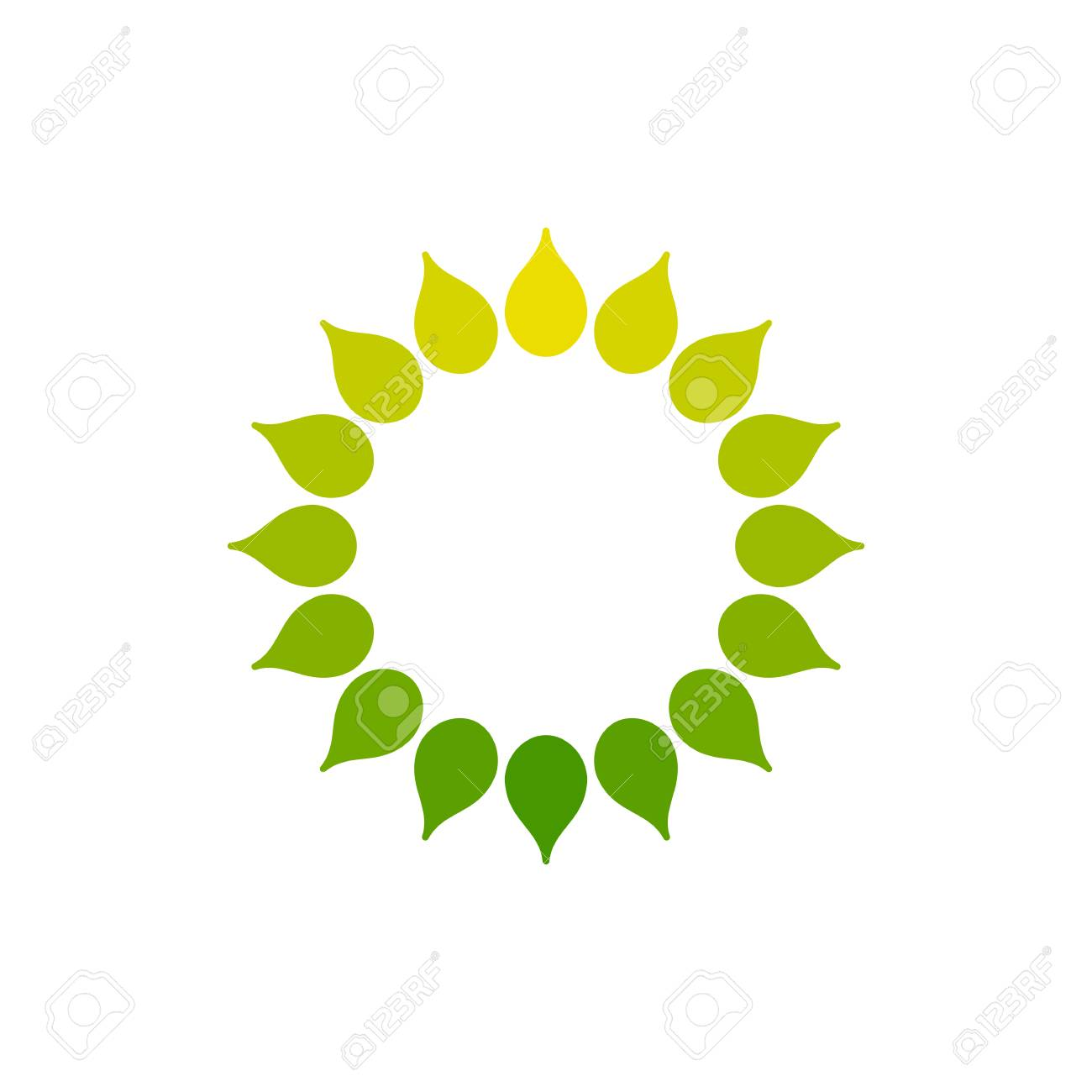 Stylized Sun Logo Round Icon Of Sun Flower Isolated Yellow