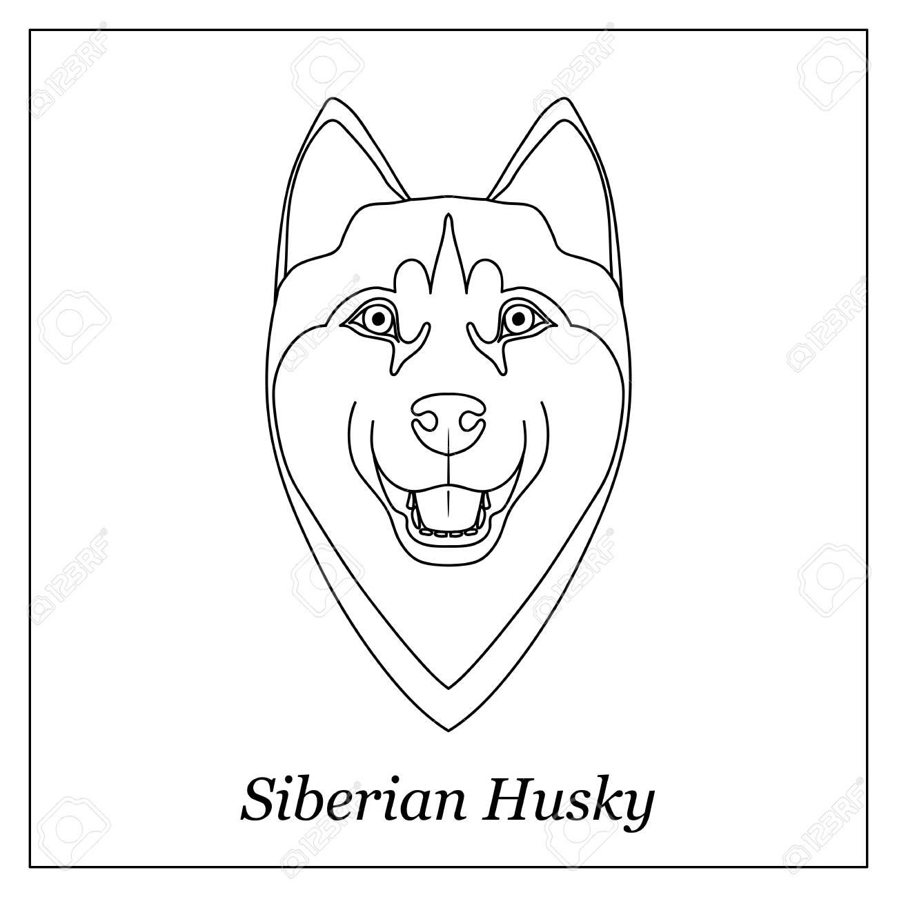 Isolated Black Outline Head Of Siberian Husky On White Background