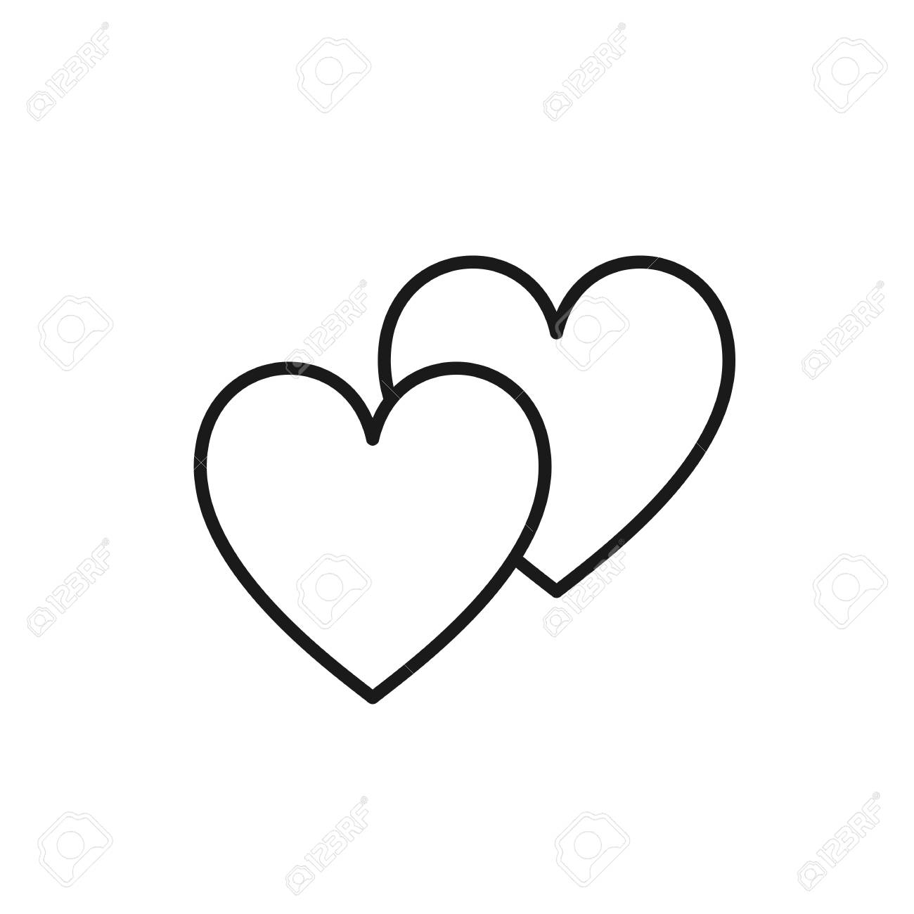 Black isolated outline icon of two hearts on white background line icon of two hearts