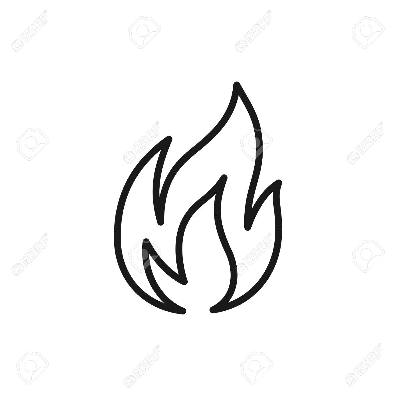 Black isolated outline icon of flame, fire on white background. Line Icon of bonfire - 113960437