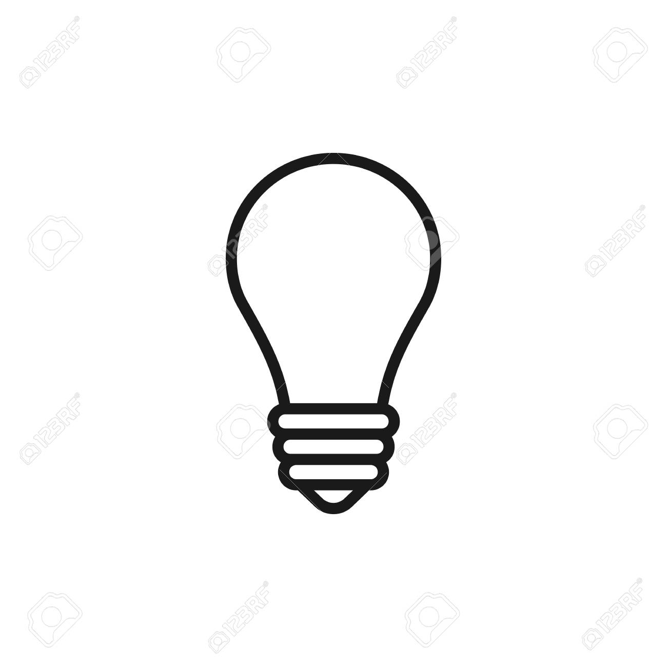 Black Isolated Outline Icon Of Light Bulb On White Background Line