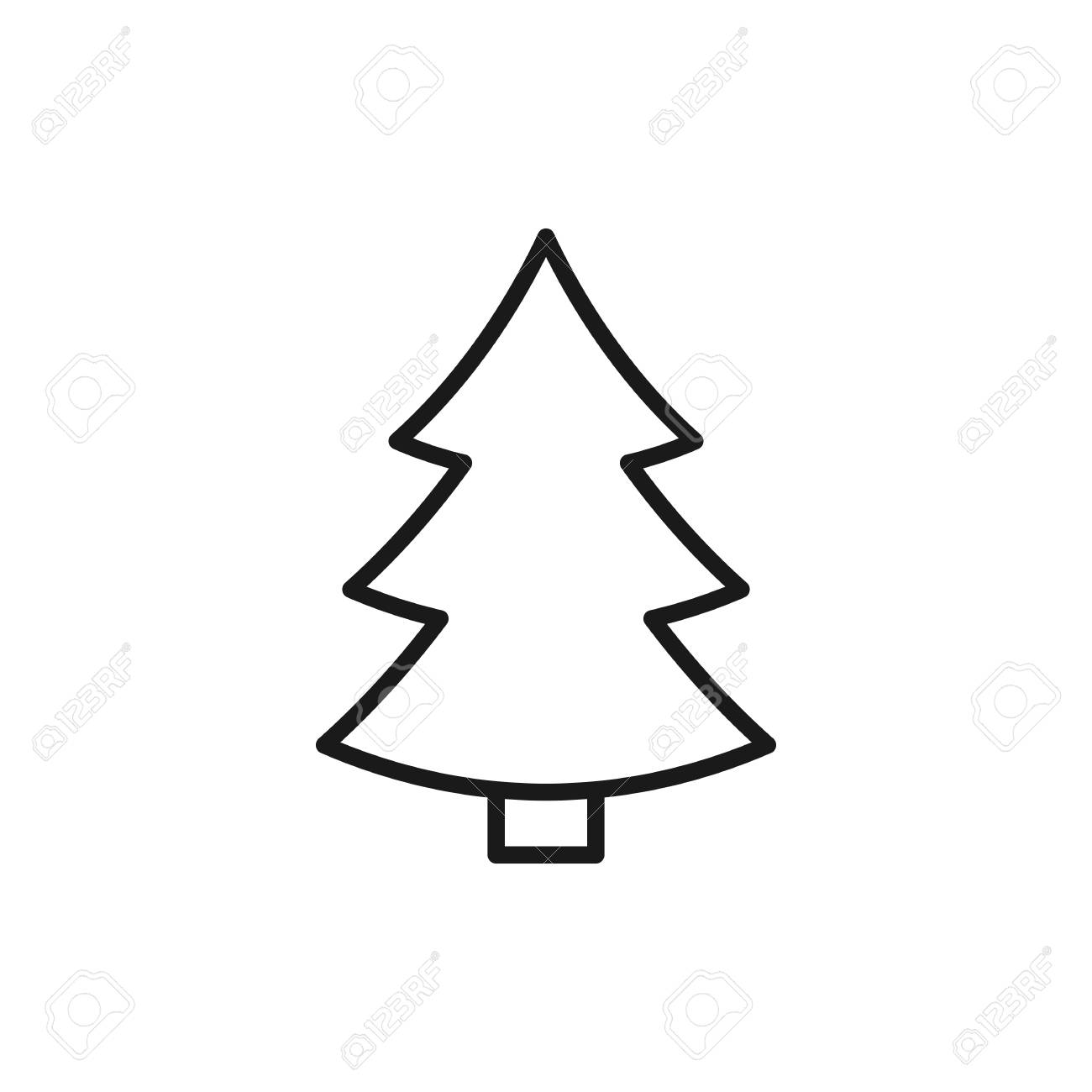 black isolated outline icon of fir tree on white background