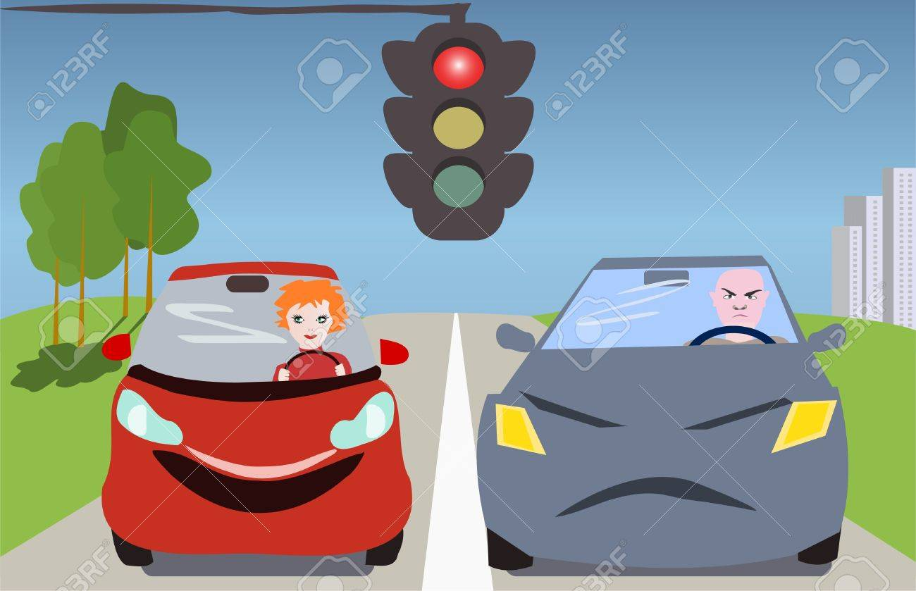 man and a woman in the cars standing at a traffic light Stock Vector - 13023757