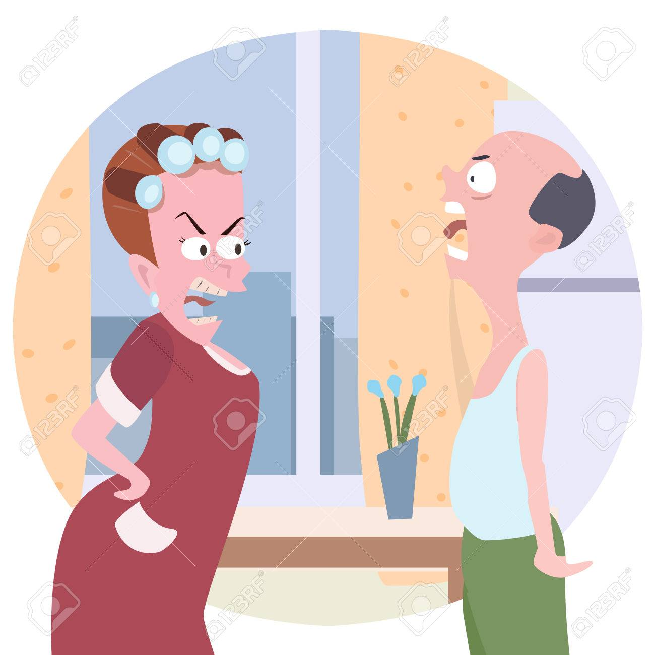 Family Conflict Cartoon Comic Illustration Of Wife And Husband Royalty Free Cliparts Vectors And Stock Illustration Image 53144316