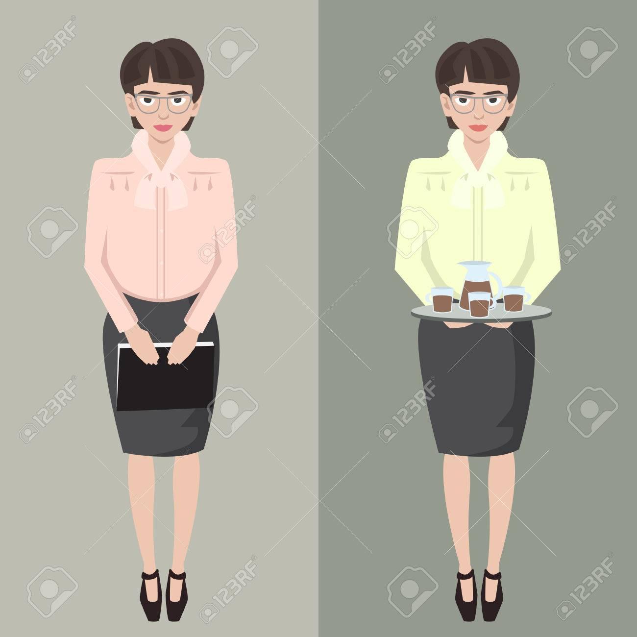 Junge Schüchterne Sekretärin Mädchen Mit Datei Und Kaffeetablett