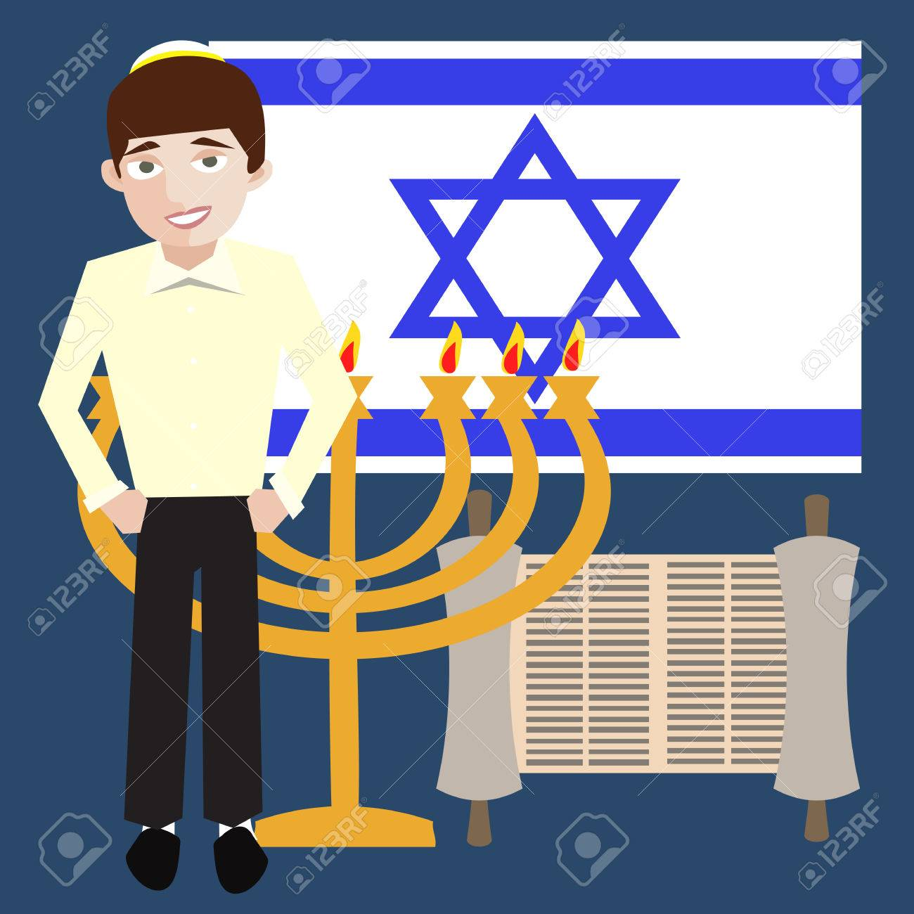 Teenager jewish boy with israel symbols flag menorah torah teenager jewish boy with israel symbols flag menorah torah scroll stock vector biocorpaavc Gallery