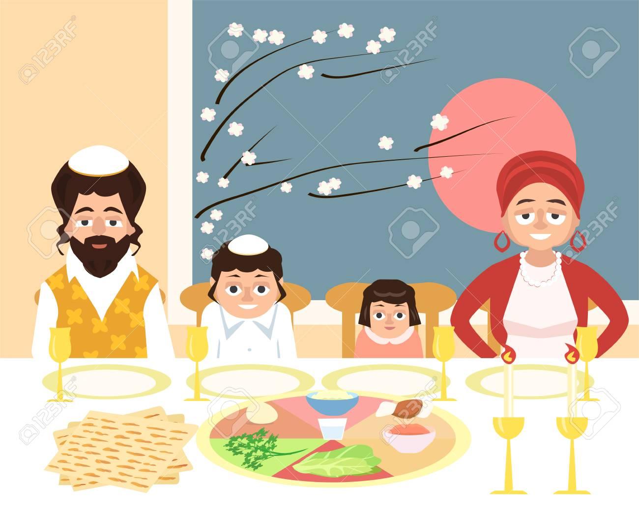 Familia Judaica Na Festa Da Pascoa Ilustracao Em Vetor Engracado Dos Desenhos Animados Em Estilo Simples Ilustraciones Vectoriales Clip Art Vectorizado Libre De Derechos Image 93239128