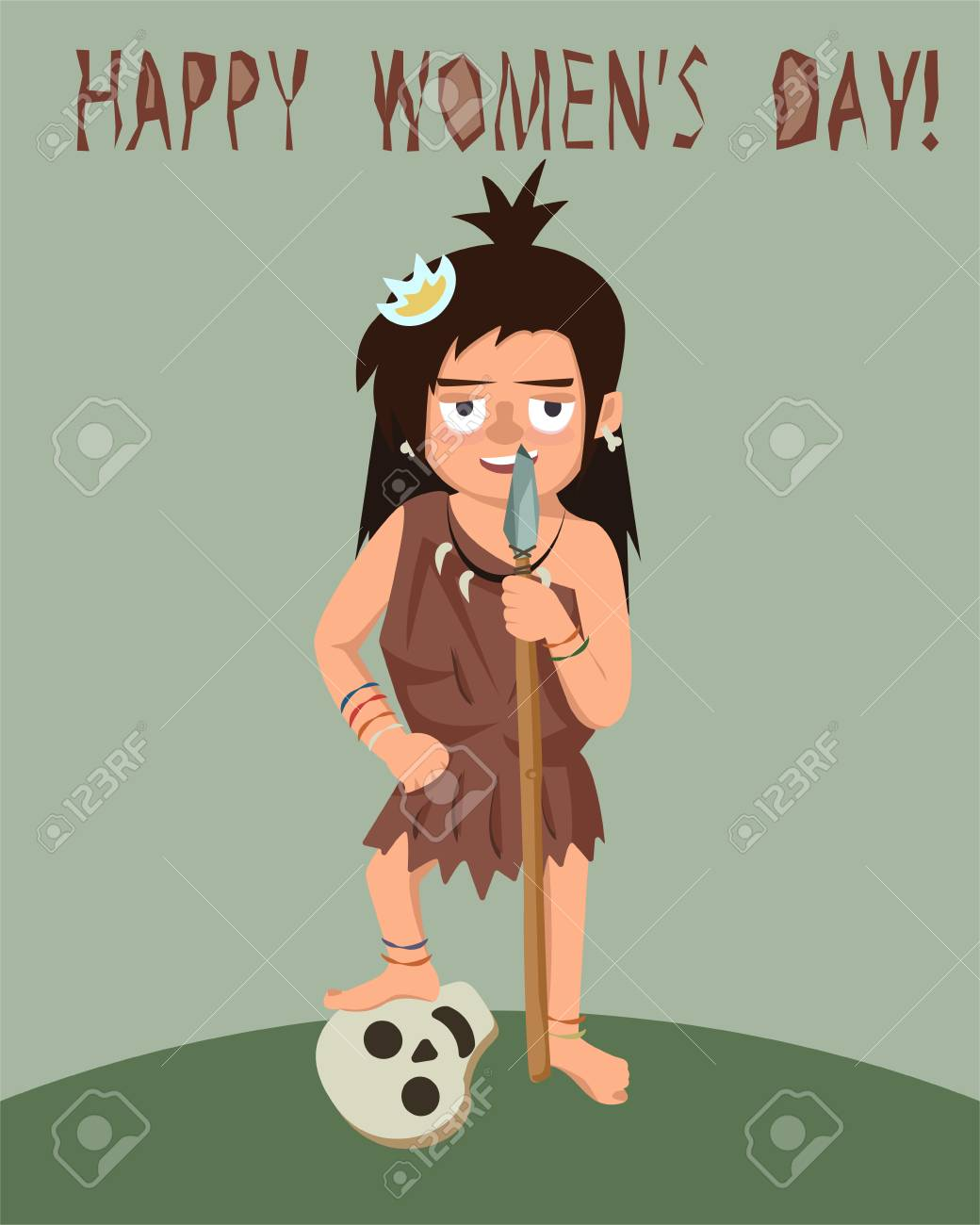 Primitive Woman With Spear And Enemy Skull Womens Day Greeting