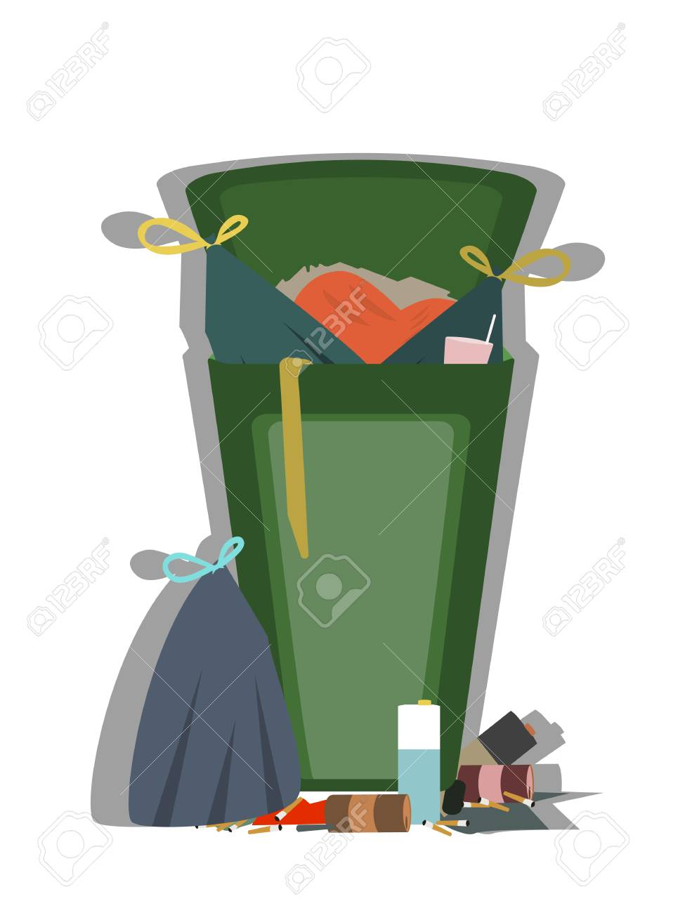 Outdoor Trash Can Full Of Garbage Isolated Vector Royalty Free Cliparts Vectors And Stock Illustration Image 100285568
