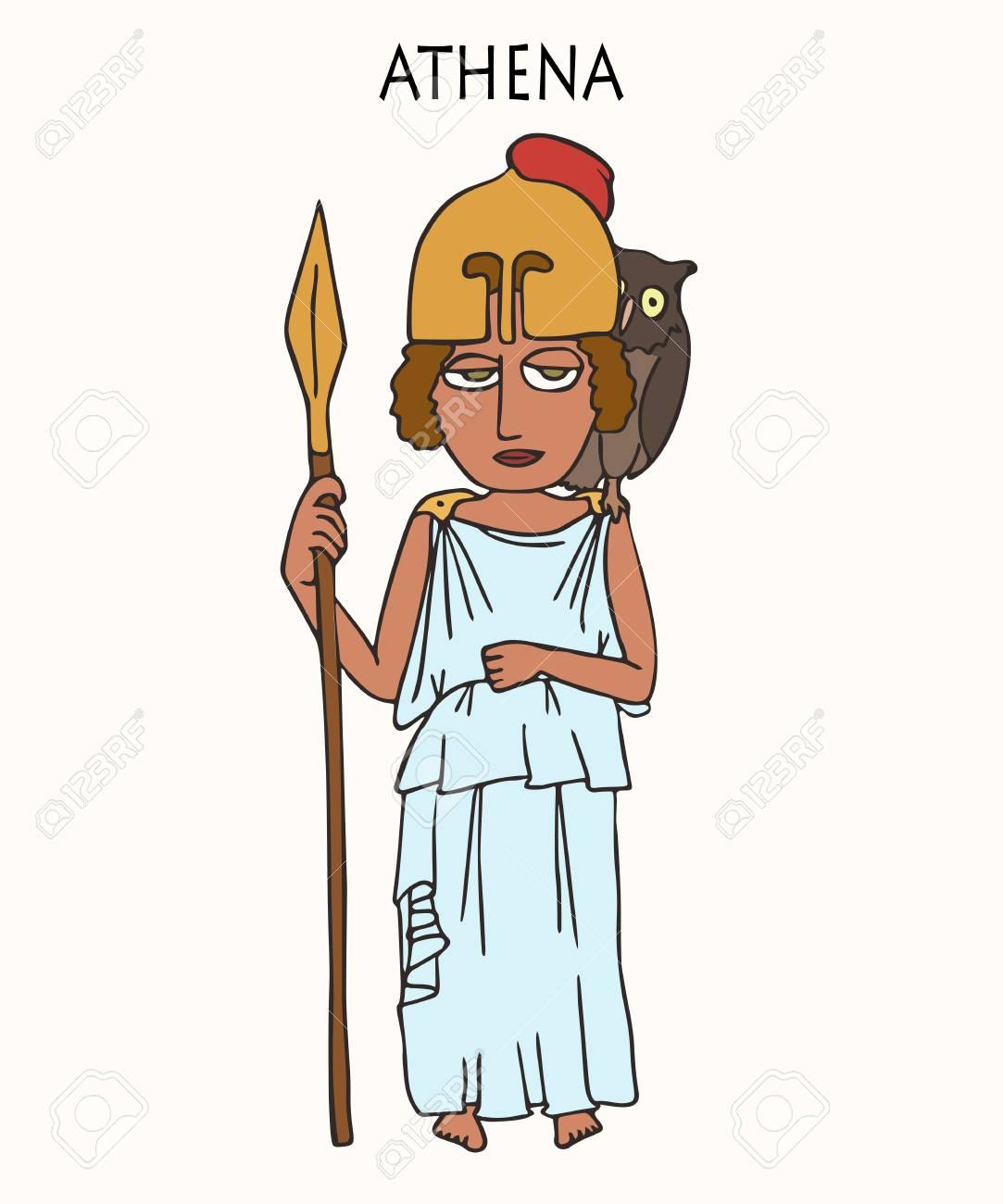 Ancient Greek Goddess Athena Funny Vector Cartoon Portrait Of