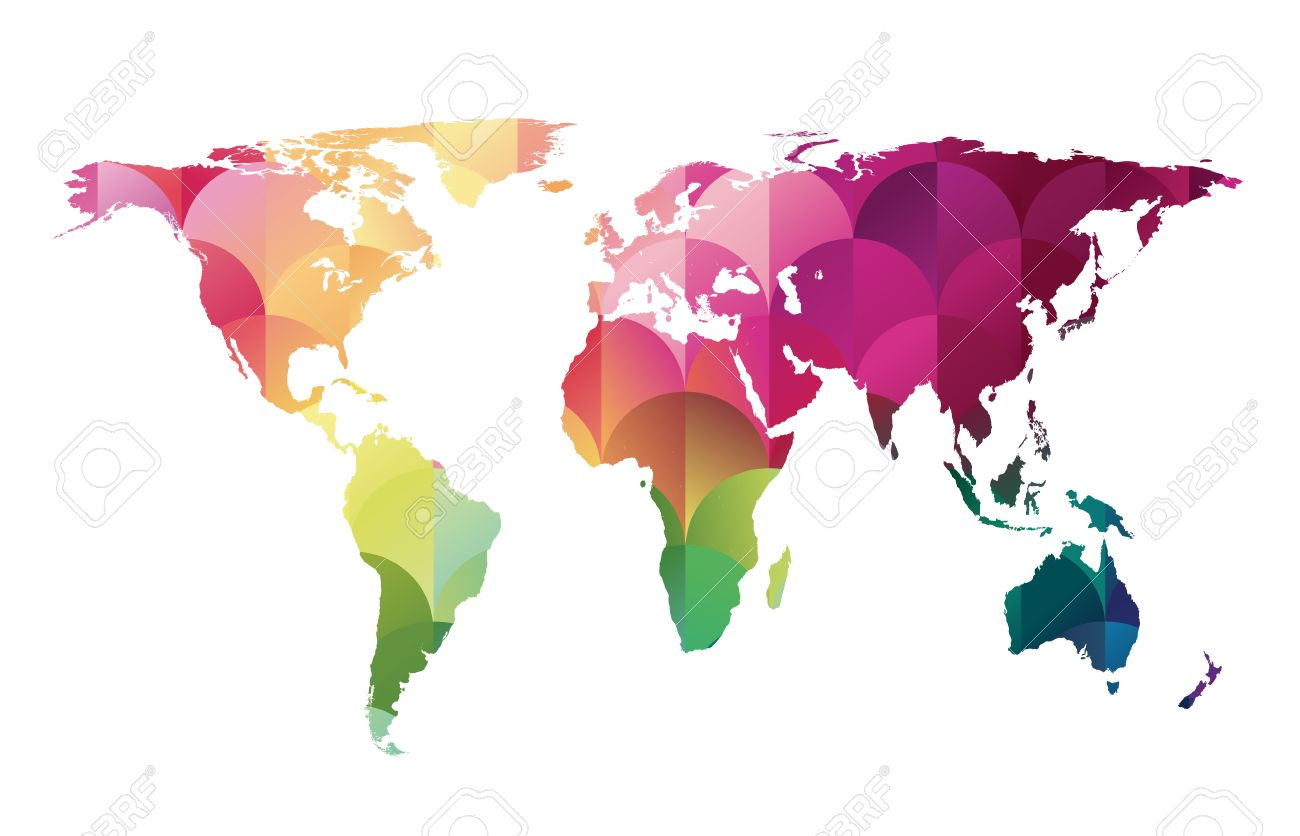 Colorful Mosaic World Map Vector Background Of Geometric Shapes
