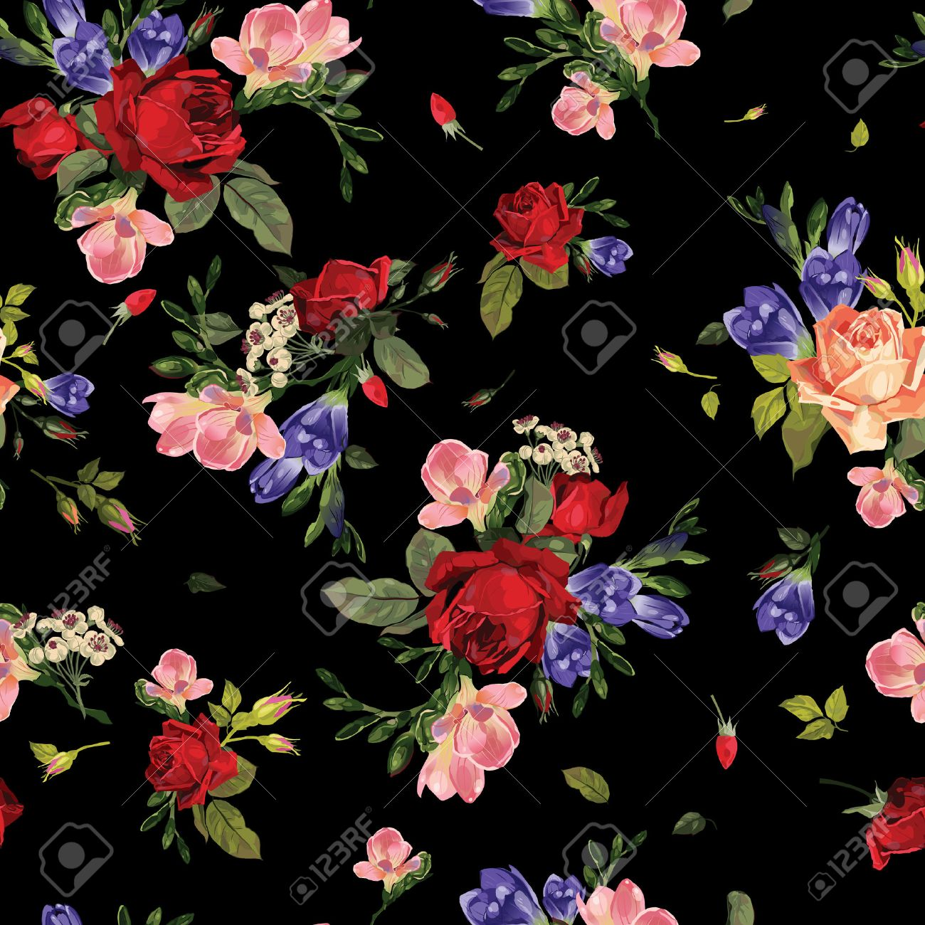 Abstract Seamless Floral Pattern With Of Red Roses And Pink