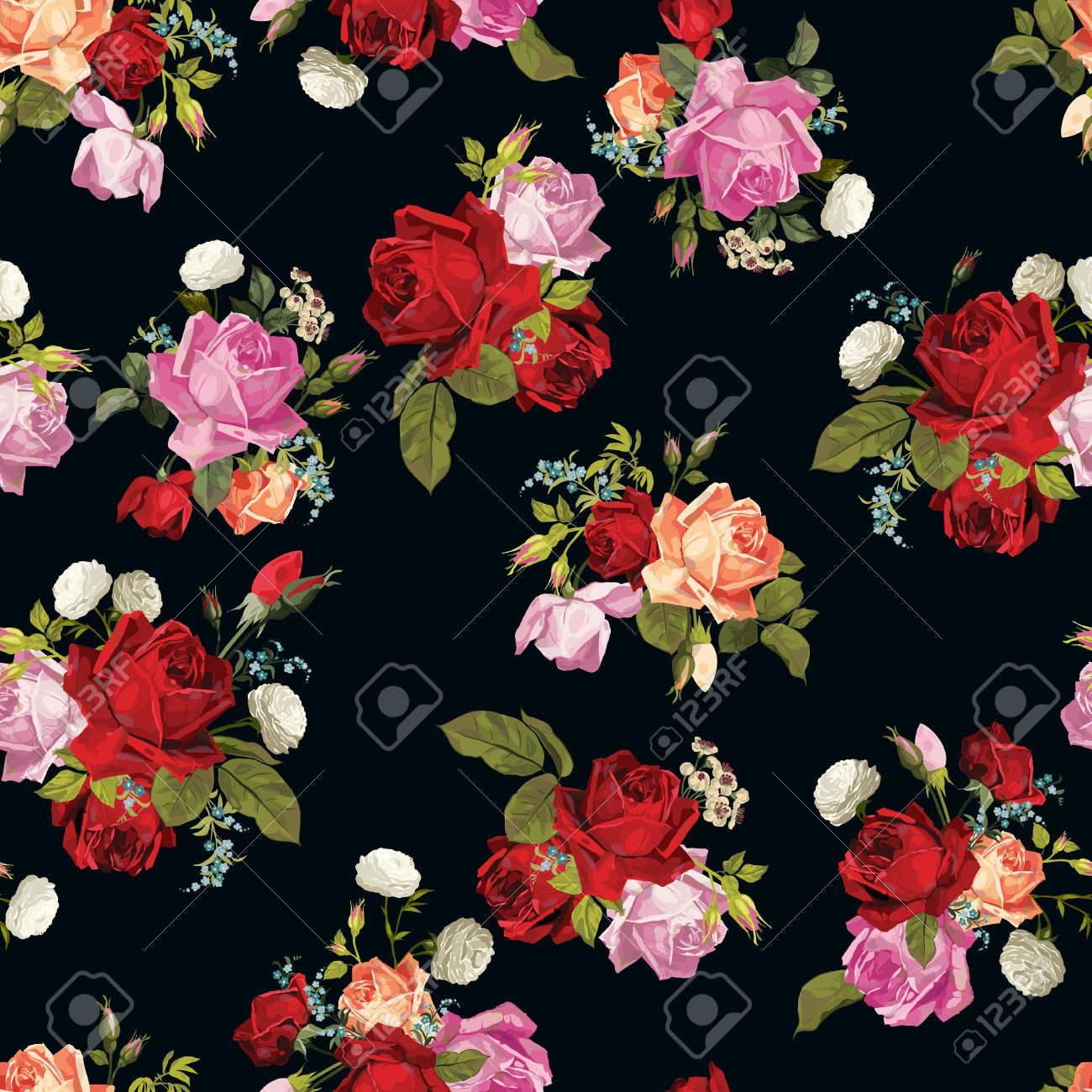 Abstract seamless floral pattern with of white pink red and orange roses on black
