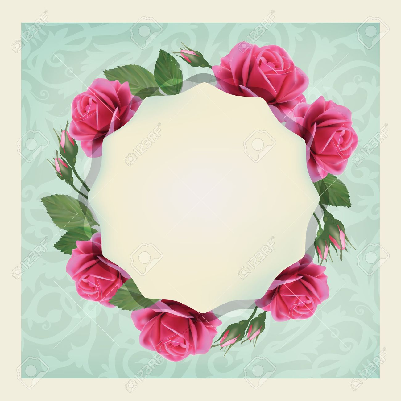 Beautiful Vector Greeting Card With Of Flowers And Elegant Pattern Bright Illustration Can Be Used