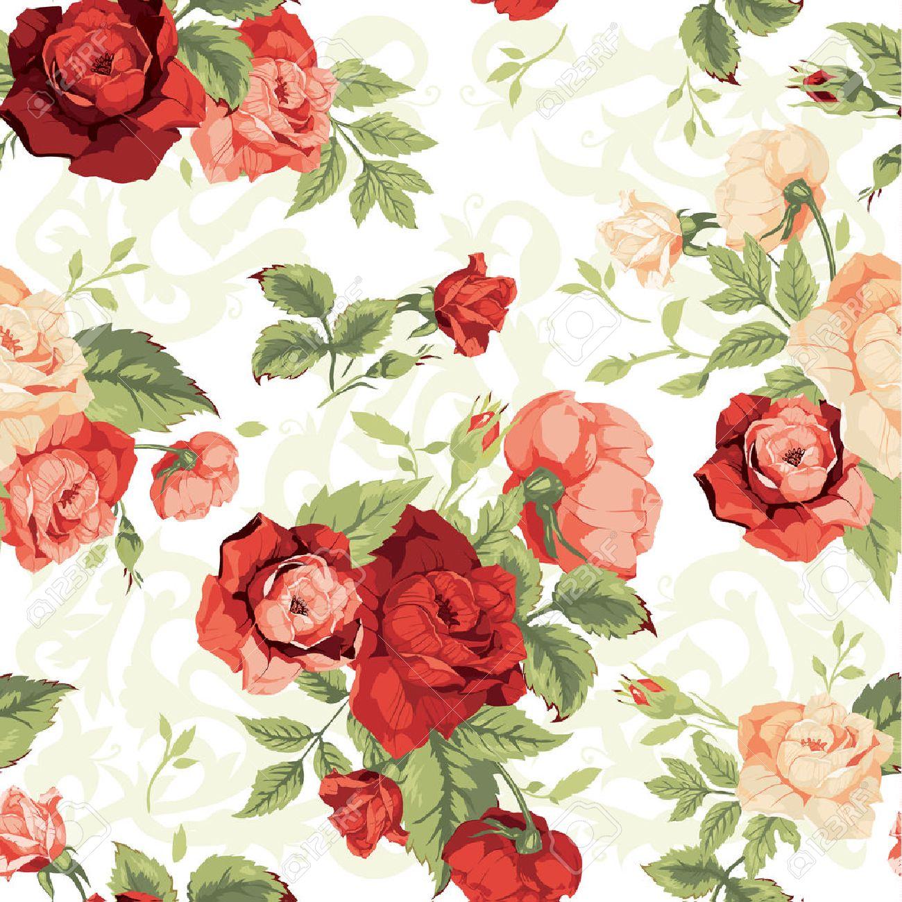 白い背景ベクトル イラストで赤とオレンジ色のバラとシームレスな花柄