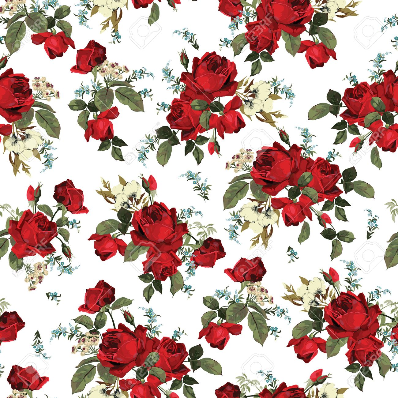 Seamless Floral Pattern With Of Red Roses On White Background