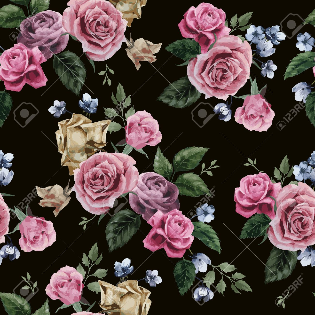 Seamless Floral Pattern With Of Pink Roses On Black Background