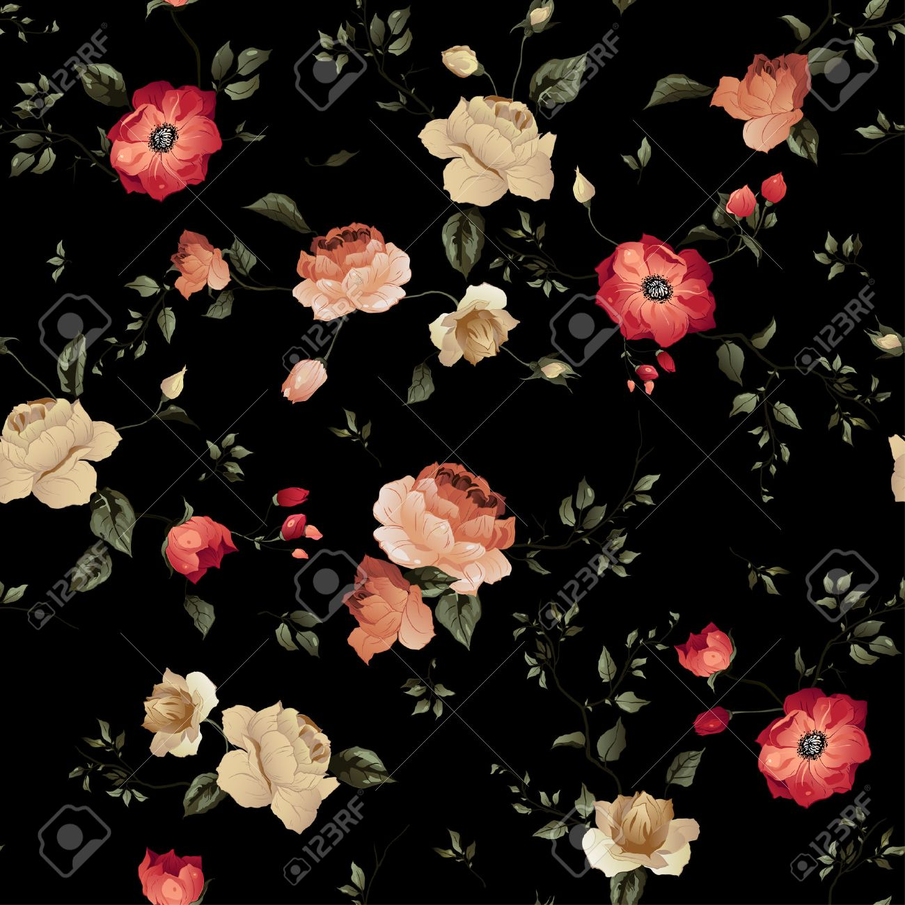 Seamless Floral Pattern With Of Roses On Dark Background