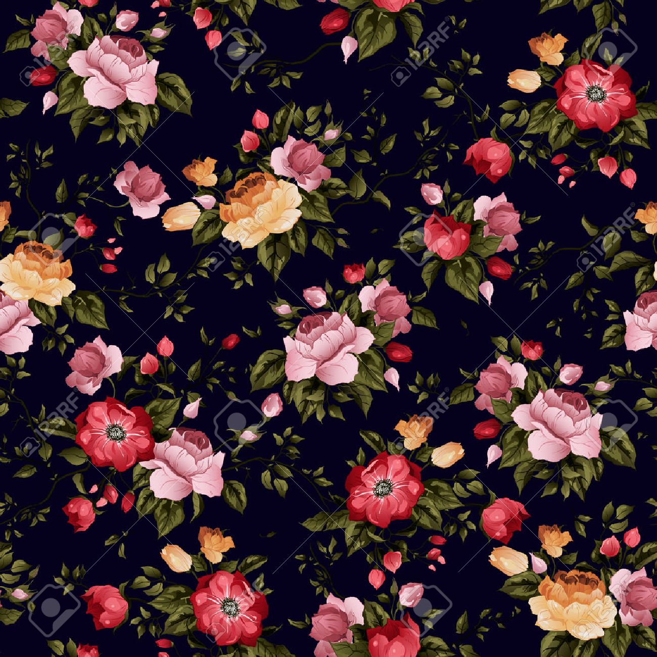 Seamless floral pattern with of roses on dark background, watercolor Vector illustration - 28213334