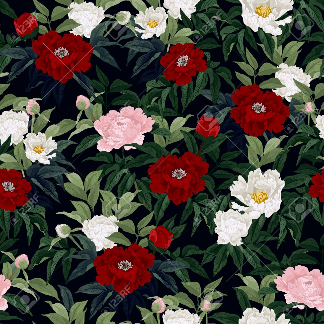 Seamless Floral Pattern With Red Pink And White Roses On Black