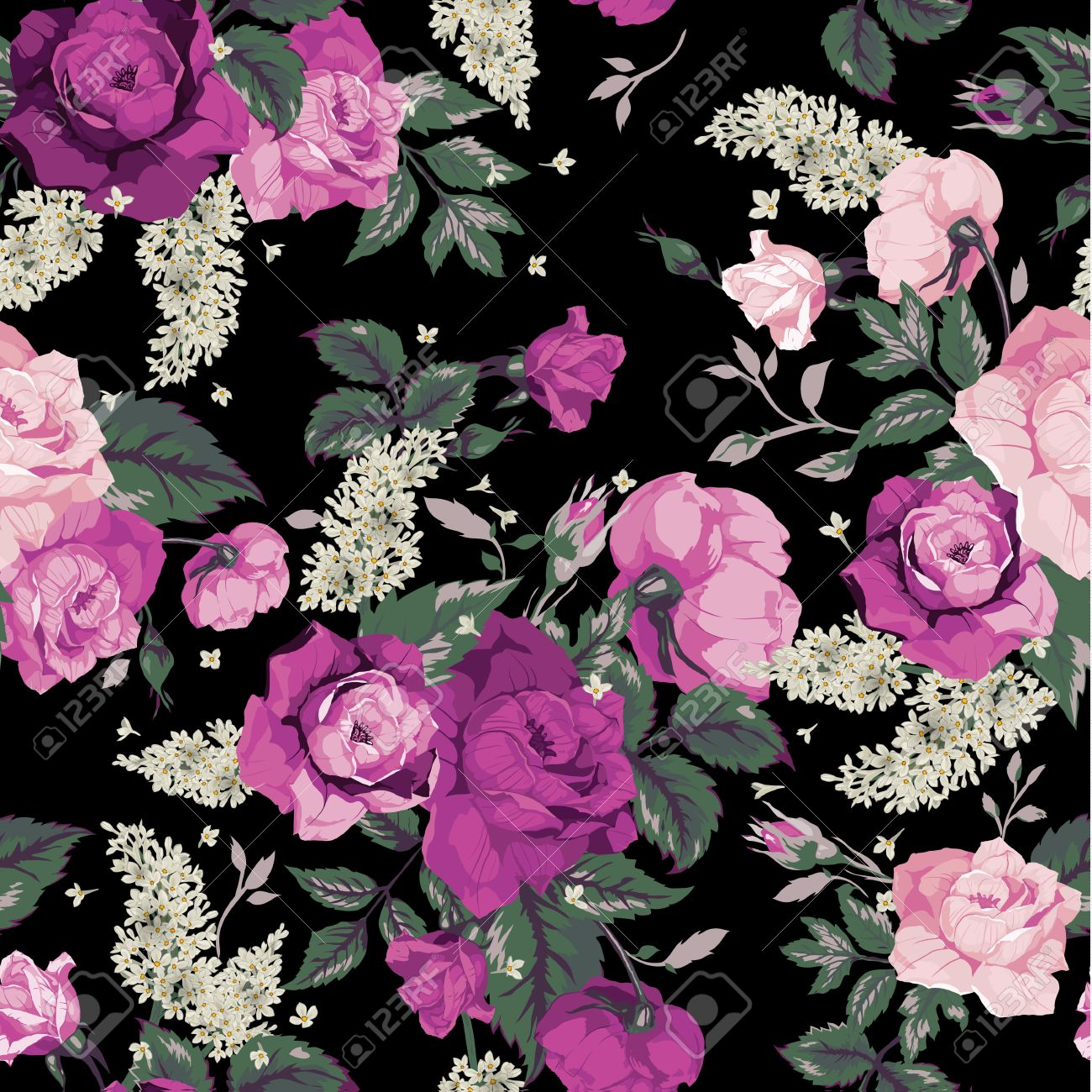 Seamless Floral Pattern With Pink Roses On Black Background