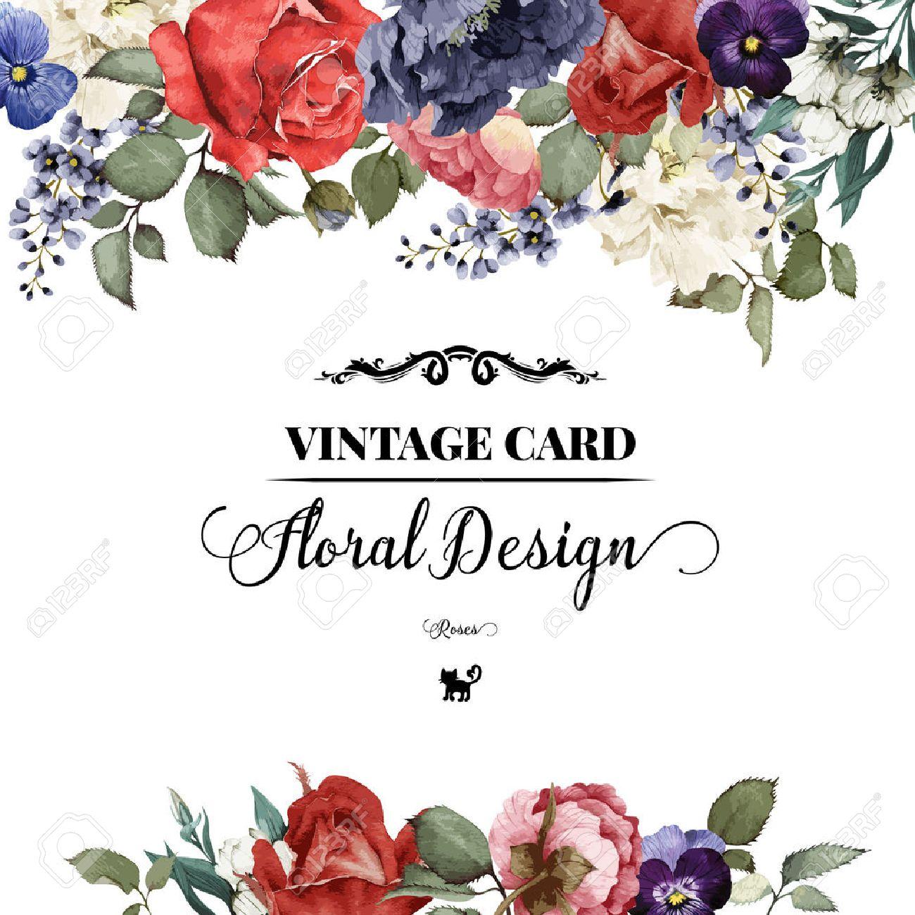 Grußkarte Mit Rosen, Aquarell, Kann Als Einladungskarte Für Hochzeit,  Geburtstag Und Andere Ferien